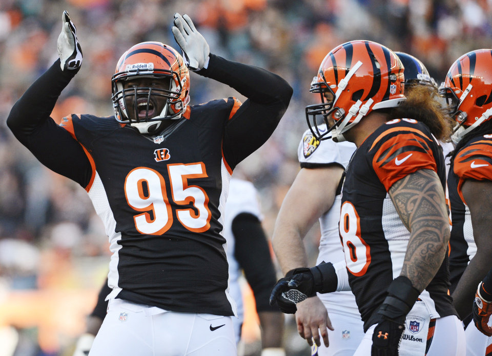 Photo - Cincinnati Bengals defensive end Wallace Gilberry (95) celebrates after making a sack in the second half of an NFL football game against the Baltimore Ravens, Sunday, Dec. 30, 2012, in Cincinnati. Cincinnati won 23-17. (AP Photo/Michael Keating)