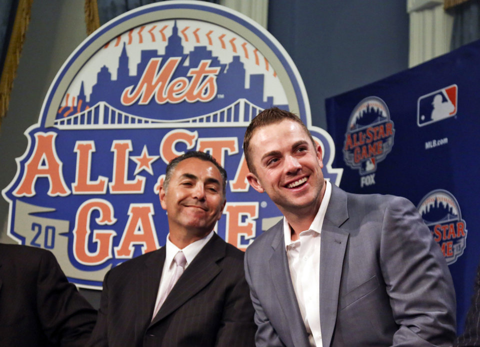 Photo - New York Mets Legend and Club Ambassador John Franco, left, and six-time All-Star New York Mets third baseman David Wright, smile during  a news conference to outline the festivities for baseball's All-Star game on Wednesday, April 24, 2013, in New York. The Mets are hosting the All-Star game on July 16. (AP Photo/Bebeto Matthews)