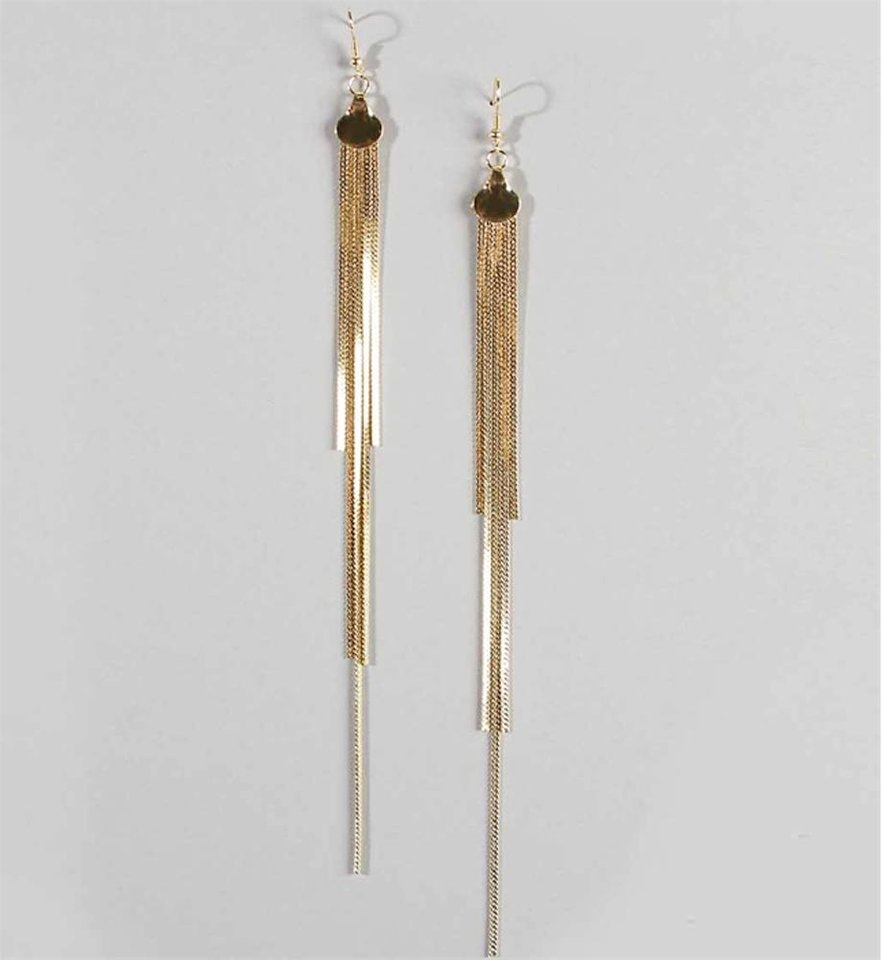 Photo - Gold drop chain earrings from Windsor $6.90. (Courtesy Windsor.com via Los Angeles Times/MCT)