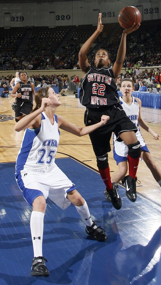 Photo - Boynton-Moton's Breanna Hutchinson (22) shoots over Cyril's Brooke Horne during the final of the Class B girls basketball state tournament  between Cyril and Boynton-Moton at the State Fair Arena, Saturday, March 6, 2010, in Oklahoma City. Photo by Sarah Phipps, The Oklahoman