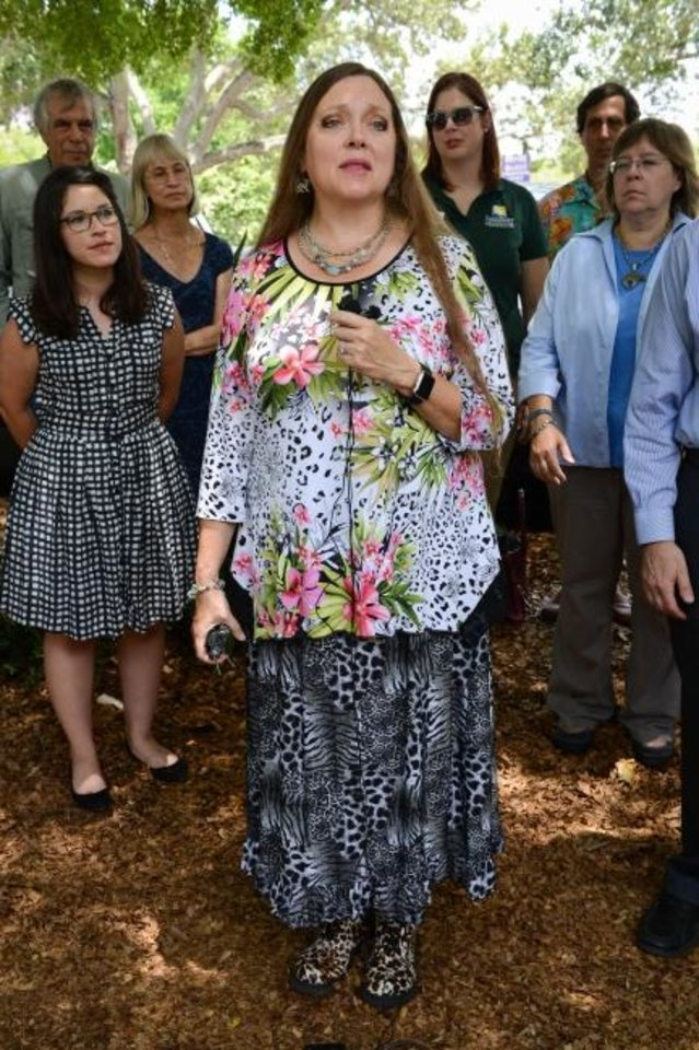 Photo -  Carole Baskin, pictured here during a June 2015 news conference, took control of the former GW Exotic Animal Park in Wynnewood this weekend. [Rachel S. O'Hara/Herald-Tribune via the USA Today Network]