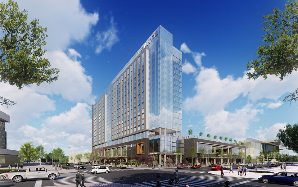 Photo -  Plans for the 605-room Omni show a hotel fronting the future boulevard, across from the Chesapeake Energy Arena, with restaurants and shops opening up along the surrounding streets. [Rendering by Rule Joy Trammel + Rubio]