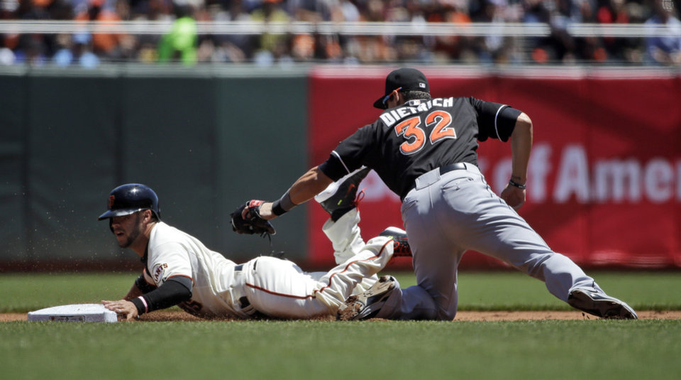 Photo - San Francisco Giants' Gregor Blanco steals second base past the tag attempt by Miami Marlins second baseman Derek Dietrich during the (bl) inning of a baseball game on Sunday, May 18, 2014, in San Francisco. (AP Photo/Marcio Jose Sanchez)