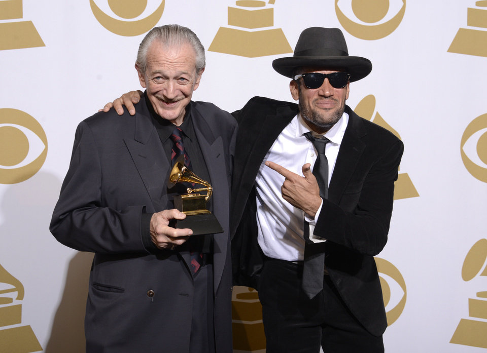 """Photo - Charlie Musselwhite, left, and Ben Harper pose with the best blues album award for """"Get Up!"""" in the press room at the 56th annual Grammy Awards at Staples Center on Sunday, Jan. 26, 2014, in Los Angeles. (Photo by Dan Steinberg/Invision/AP)"""