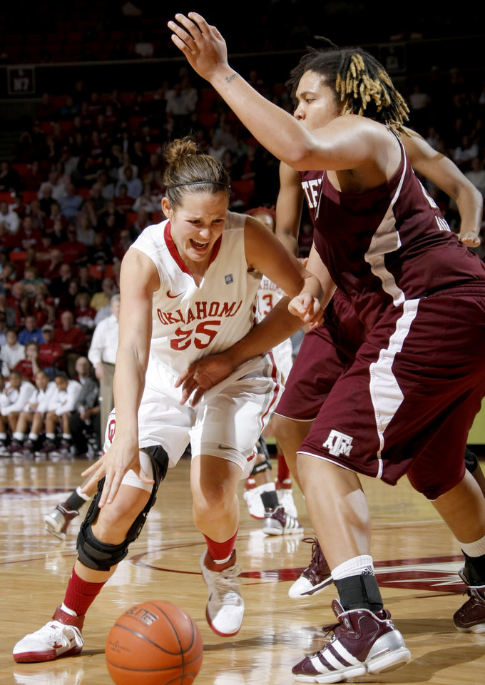 Photo - OU's Whitney Hand (25) tries to get past Texas A&M's Danielle Adams (23) during the Big 12 women's basketball game between the University of Oklahoma and Texas A&M at Lloyd Noble Center in Norman, Okla., Wednesday January 26, 2011.  Photo by Bryan Terry, The Oklahoman