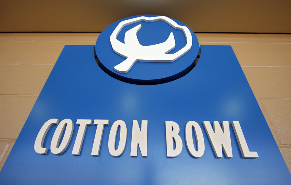 Logo renovations to the Cotton Bowl on display to the media on Wednesday, Sept 17,  2008, in Dallas, Texas.
