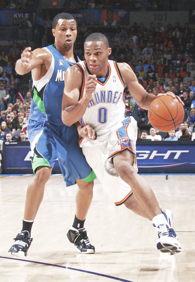 Photo - Thunder rookie Russell Westbrook is averaging 13.3 points per game.  Photo by nate billings,  the oklahoman