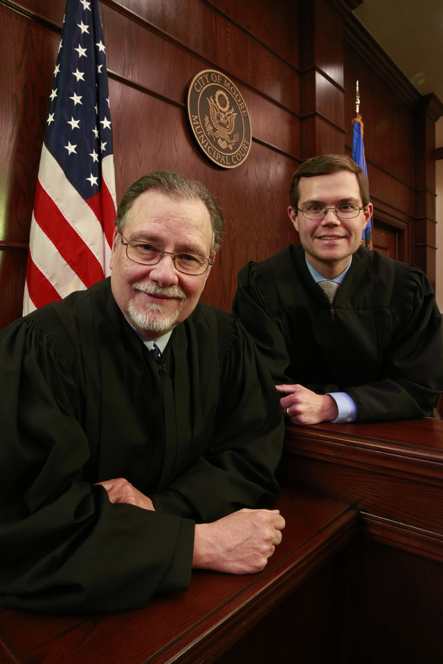 Photo -  Longtime Municipal Court Judge Blake Virgin poses with his son, Jeff Virgin, who soon will be sworn in as a district judge. Photo by Steve Sisney, The Oklahoman   STEVE SISNEY -  THE OKLAHOMAN