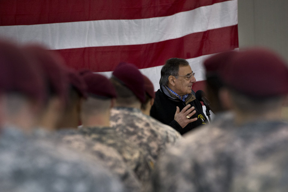 Photo - Defense Secretary Leon Panetta speaks to the 173rd Airborne Brigade Combat Team at U.S. Army Garrison in Vicenza, Italy, Thursday, Jan. 17, 2013. Panetta is in Italy as part of a weeklong swing across Europe, meeting with defense ministers to talk about ongoing conflicts in Afghanistan and Mali. This is expected to be Panetta's last overseas trip as Pentagon chief, as he long has planned to step down once his replacement is confirmed. (AP Photo/Jacquelyn Martin)
