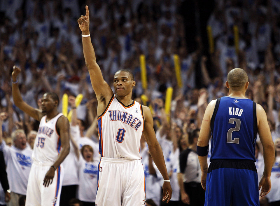 Oklahoma City's Russell Westbrook (0) and Kevin Durant (35) react next to Dallas' Jason Kidd (2) at the end of Game 2 of the first round in the NBA basketball  playoffs between the Oklahoma City Thunder and the Dallas Mavericks at Chesapeake Energy Arena in Oklahoma City, Monday, April 30, 2012.  Oklahoma City won, 102-99. Photo by Nate Billings, The Oklahoman