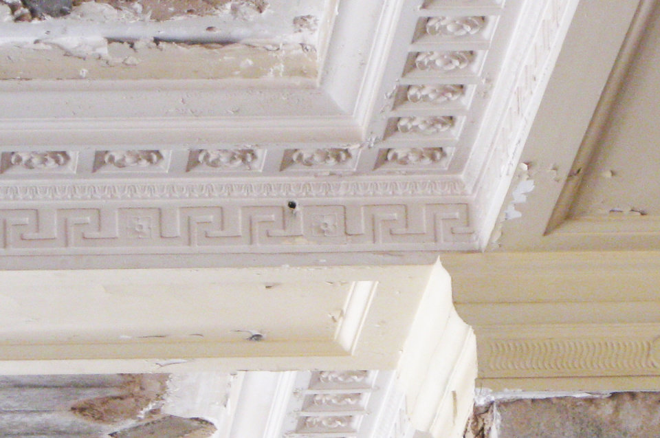 Ornate plaster ceiling molding original to the Braniff Building will be restored as part of Kitchen No. 324.