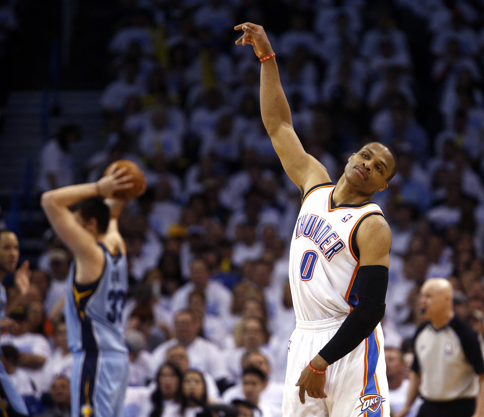 Photo - Oklahoma City's Russell Westbrook (0) reacts after missing a shot in the fourth quarter during Game 5 in the first round of the NBA playoffs between the Oklahoma City Thunder and the Memphis Grizzlies at Chesapeake Energy Arena in Oklahoma City, Tuesday, April 29, 2014. Photo by Sarah Phipps, The Oklahoman