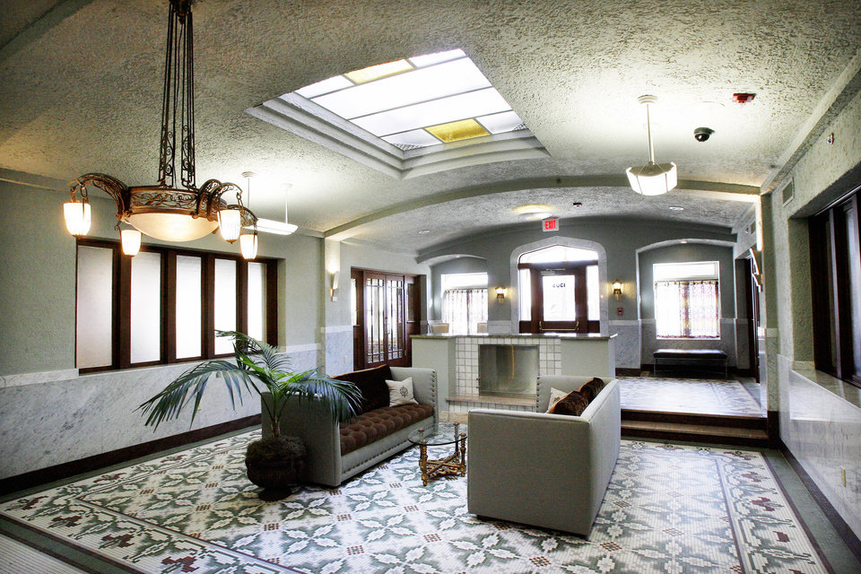 The Sieber's renovated lobby greets residents and guests. Photo BY PAUL B. SOUTHERLAND, THE OKLAHOMAN