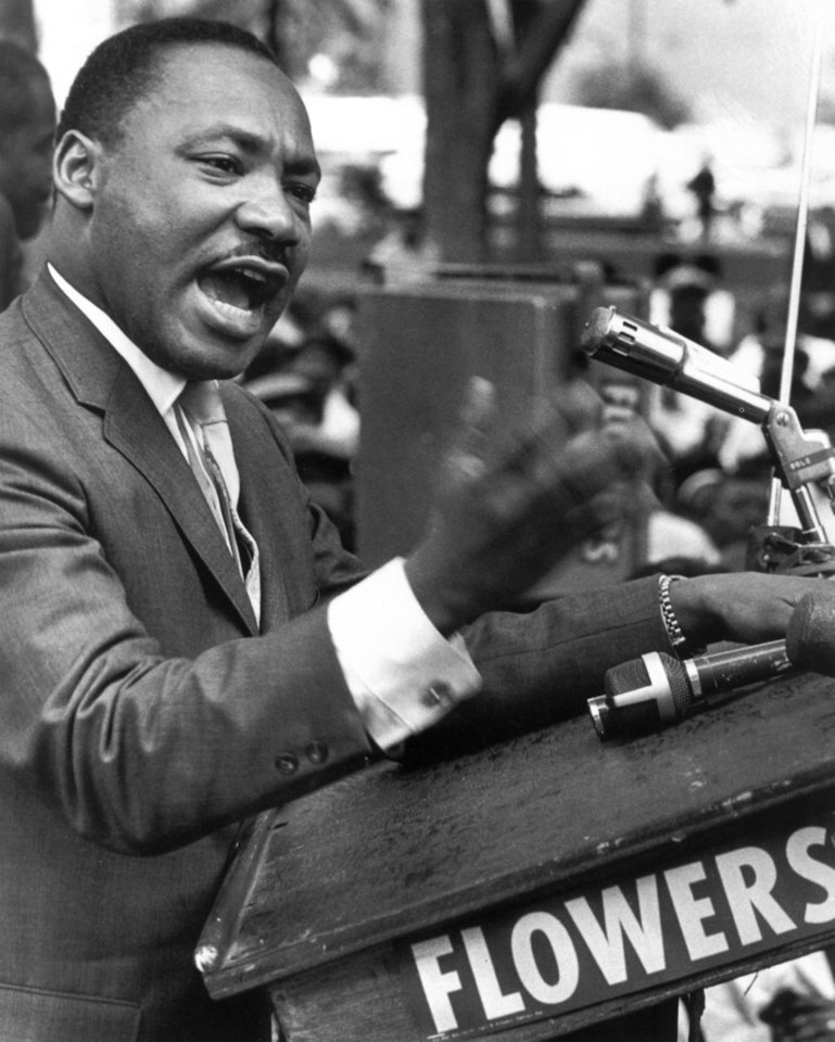 FILE - In this undated photo, The Rev. Dr. Martin Luther King Jr. speaks at a podium. (AP Photo)