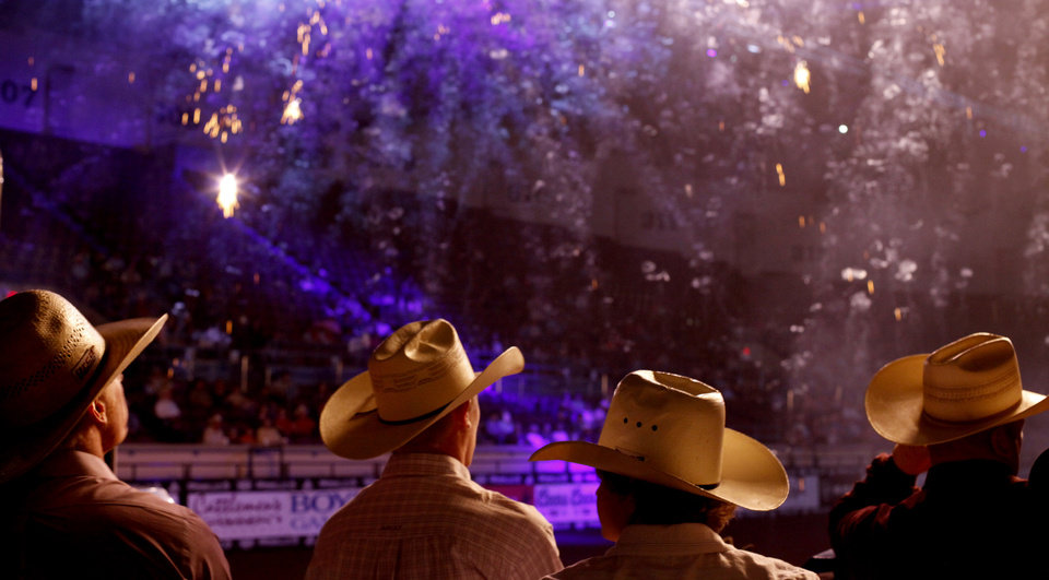 Contestants watch during introductions before the National Finals Circuit Rodeo at State Fair Arena in Oklahoma City, Thursday, March 29, 2012. Photo by Bryan Terry, The Oklahoman