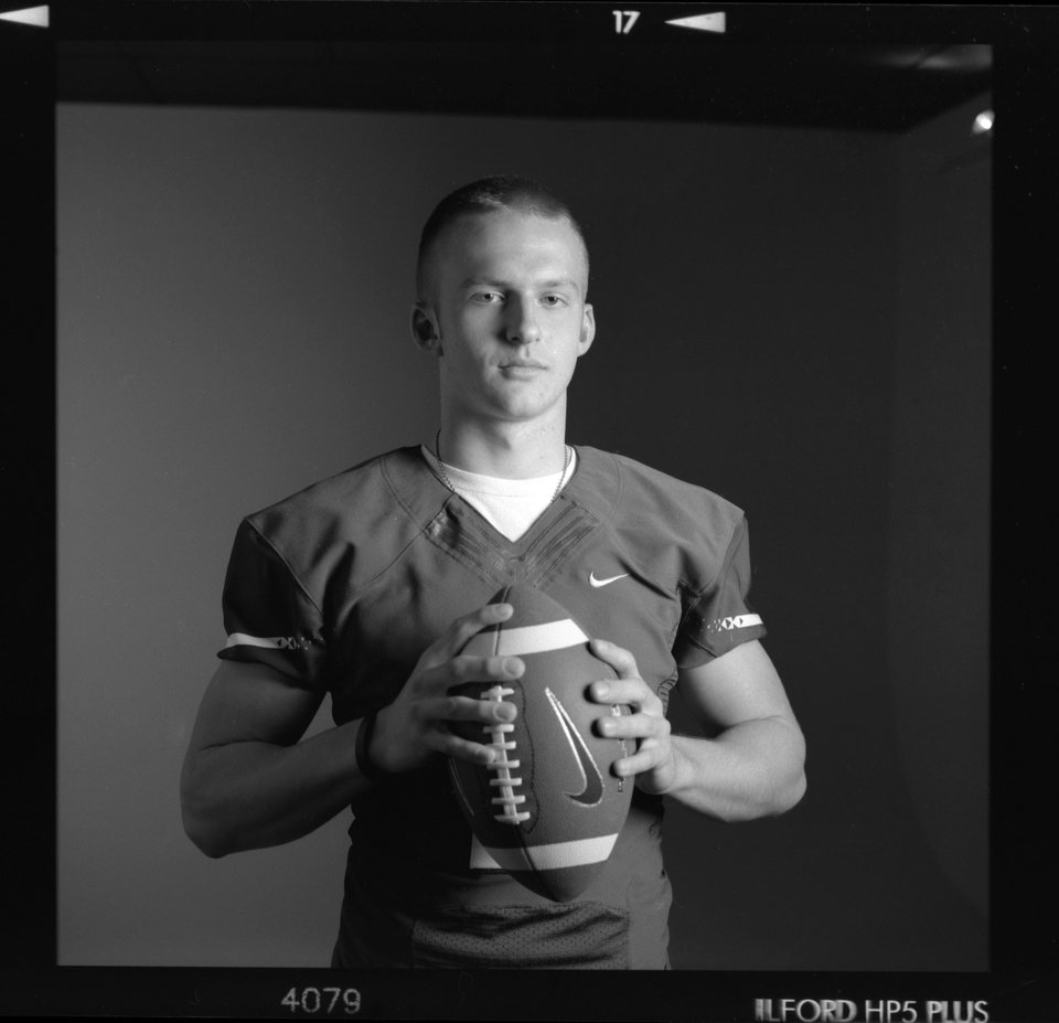 All-State high school football player Justice Hansen of Edmond Santa Fe poses for a photo in Oklahoma City,  Monday, Dec. 17, 2012. Photo by Nate Billings, The Oklahoman
