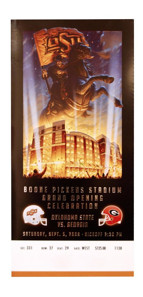 Photo - OKLAHOMA STATE UNIVERSITY, OSU,  VS. GEORGIA UNIVERSITY COLLEGE FOOTBALL GAME TICKET - BOONE PICKENS STADIUM GRAND OPENING CELEBRATION - SATURDAY, SEPTEMBER 5, 2009 - KICK OFF 2:30 PM  ORG XMIT: 0908242207083563