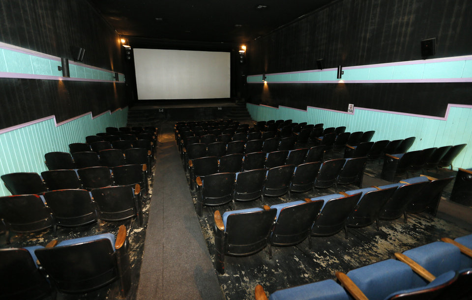 A view of the floor, seats and screen from the back of the Time Theater in Stigler, Okla., Thursday, Feb. 7, 2013. The community is raising the $100,000 needed to convert the theater to digital projection and keep it open. Photo by Nate Billings, The Oklahoman