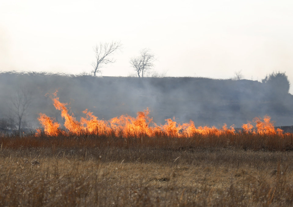 Photo -  Wildfire flames spread in a field near SE 134. [Photo by Sarah Phipps, The Oklahoman]