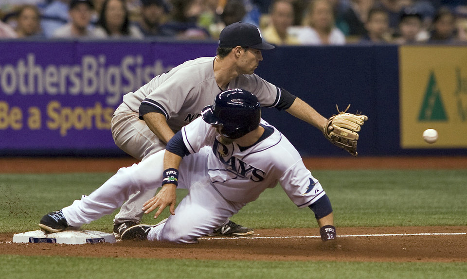 Photo - Tampa Bay Rays' Ben Zobrist, bottom, beats the throw to New York Yankees third baseman Scott Sizemore on a single by pinch-hitter Desmond Jennings during the seventh inning of a baseball game Friday, April 18, 2014, in St. Petersburg, Fla. (AP Photo/Steve Nesius)