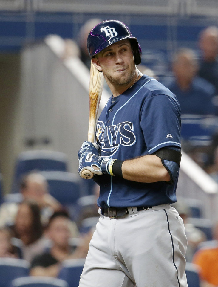Photo - Tampa Bay Rays' Evan Longoria walks to the dugout after striking out in the fourth inning of an interleague baseball game against the Miami Marlins, Tuesday, June 3, 2014, in Miami. (AP Photo/Lynne Sladky)