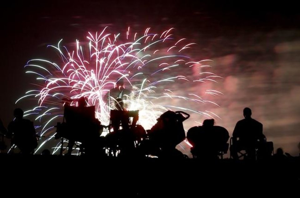 Photo -  People watch fireworks at Yukon's Freedom Fest