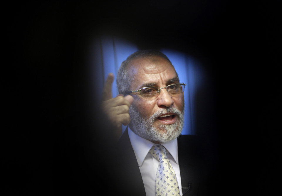 FILE - In this Tuesday, Oct. 26, 2010 file photo, Muslim Brotherhood General Guide Mohammed Badie talks during an interview with the Associated Press at his office in Cairo Egypt. A leading Jewish organization is calling Saturday, Oct. 13, 2012 on the White House to cut contacts with Egypt\'s most powerful political movement, the Muslim Brotherhood, over anti-Semitic remarks attributed to its spiritual guide. Mohammed Badie said that Jews were spreading