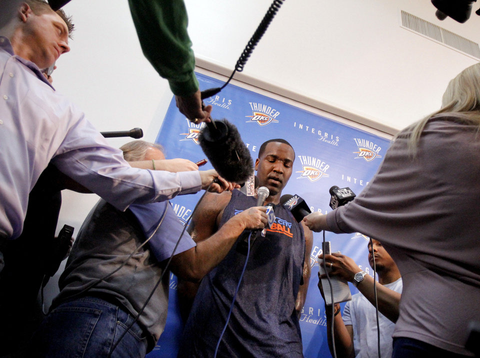 Oklahoma City\'s Kendrick Perkins talks to the media at the the Thunder practice facility, Saturday, Feb, 26, 2011, in Oklahoma City.Photo by Sarah Phipps, The Oklahoman