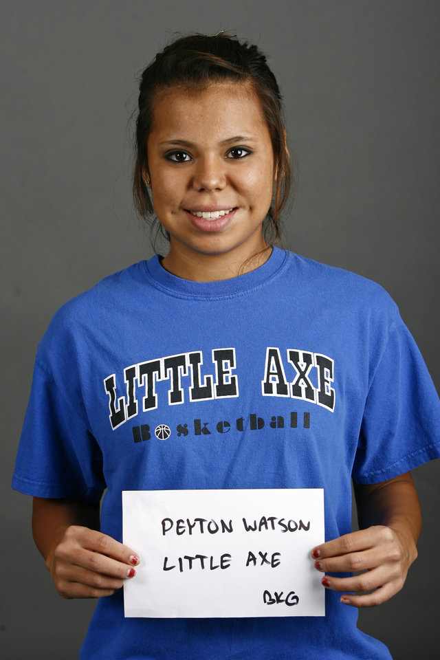 Photo - Little Axe girls basketball player Peyton Watson poses for a mug during the winter high school sports photo day in Oklahoma City, Wednesday, Nov. 19, 2008. BY BRYAN TERRY, THE OKLAHOMAN ORG XMIT: KOD