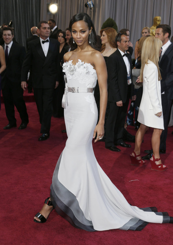 Zoe Saldana in an Alexis Mabille Couture dress arrives at the Oscars at the Dolby Theatre on Sunday Feb. 24, 2013, in Los Angeles. (Photo by Todd Williamson/Invision/AP) <strong>Todd Williamson</strong>