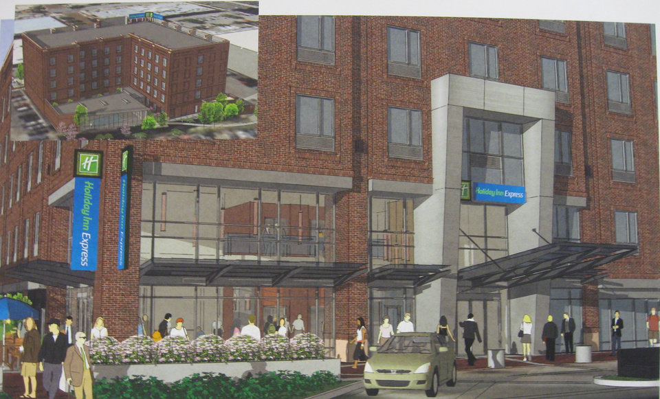 The proposed entrance and north view of a Bricktown Holiday Inn Express are shown in this rendering. Architectural Design Group <strong>P</strong>