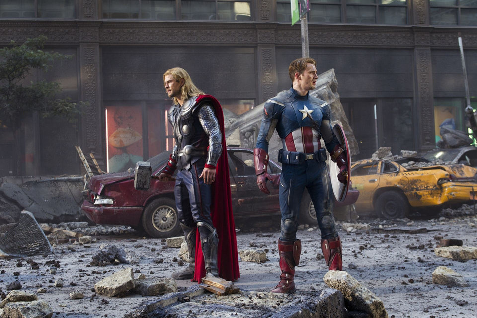 "Photo - Thor (Chris Hemsworth) and Captain America (Chris Evans) join forces in Marvel's ""The Avengers."" Marvel photo"