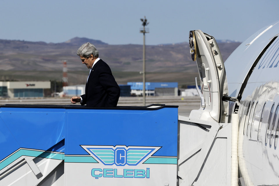 U.S. Secretary of State John Kerry arrives in Ankara, Turkey, on Friday, March 1, 2013. Ankara is the fifth leg of Kerry\'s first official overseas trip, a nine-day dash through Europe and the Middle East. (AP Photo/Jacquelyn Martin, Pool)