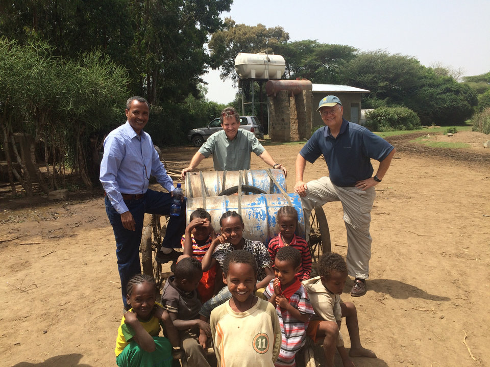 Photo -  University of Oklahoma researchers Jim Chamberlain, center, and David Sabatini, right, are a part of a project that seeks to correct elevated fluoride levels in water in Ethiopia's Great Rift Valley. [PHOTO PROVIDED]
