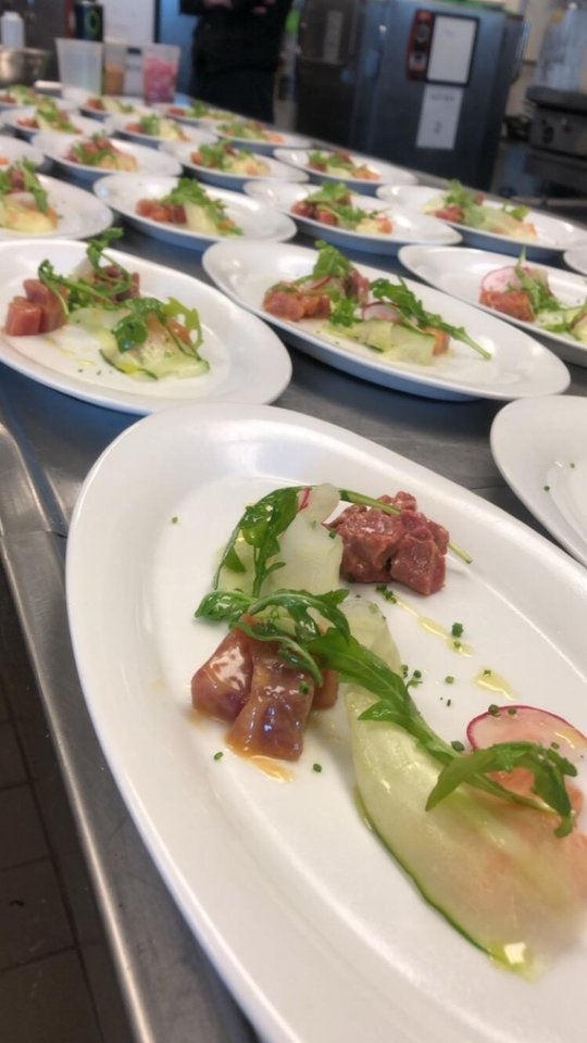Photo - A crudo of Salmon and tuna with NoName Beef was among the dishes served at Enis Mullalui's farewell dinner.