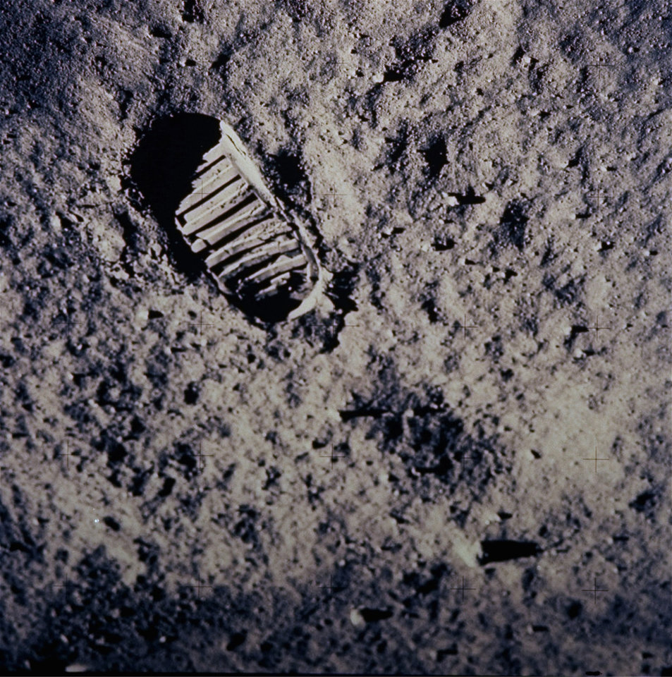 Photo - FILE - In this July 20, 1969 file photo provided by NASA, a footprint left by one of  the astronauts of the Apollo 11 mission shows in the soft, powder surface of the moon. Commander Neil Armstrong and Edwin