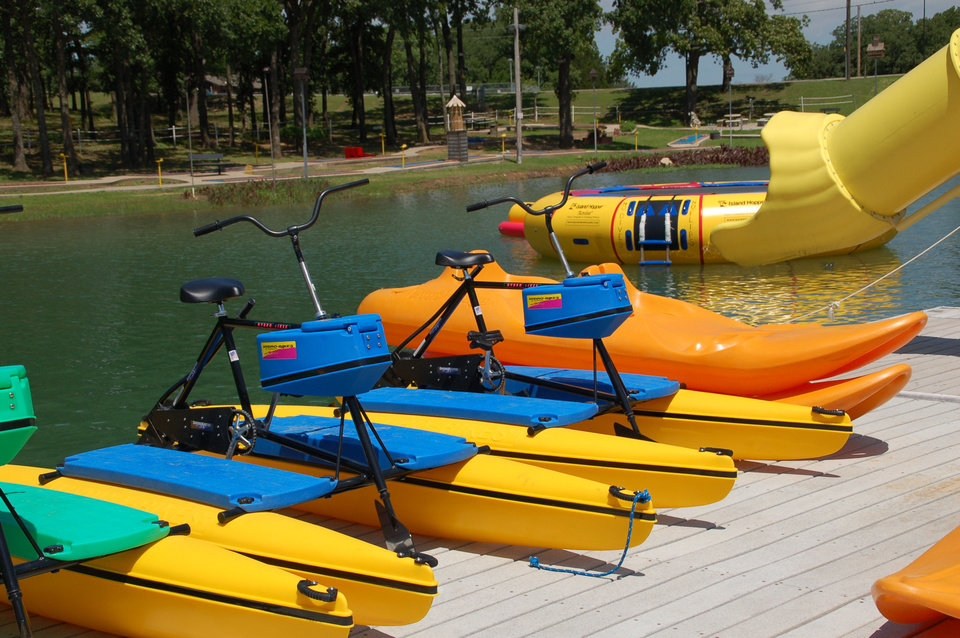 Photo - Water toys for rent line the dock at Lake Murray Watersports. PHOTO PROVIDED.