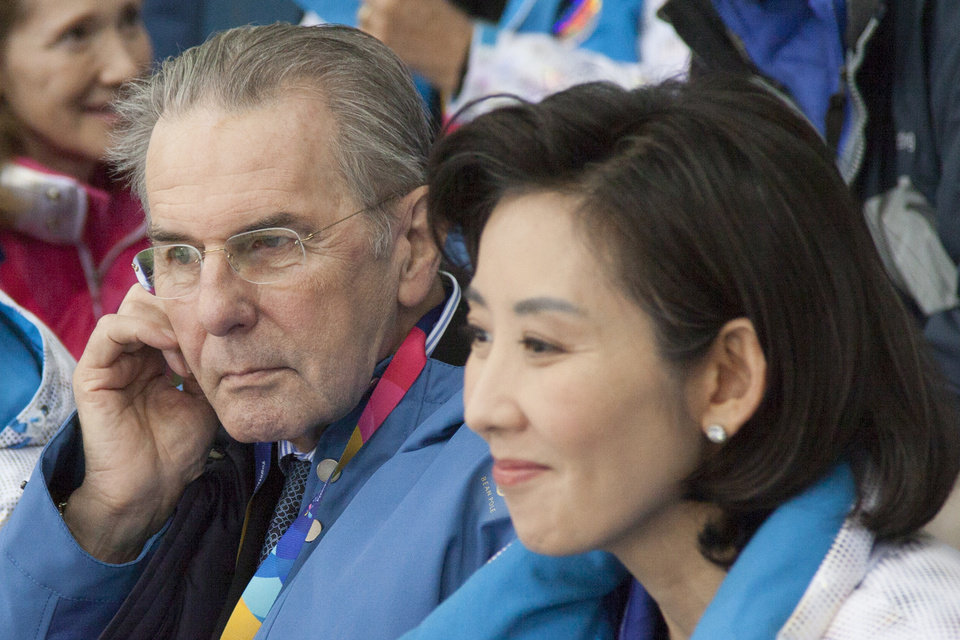 Photo - IMAGE DISTRIBUTED FOR SPECIAL OLYMPICS - Jacques Rogge, president of the International Olympic Committee, left, and Na Kyung-Won, chairwoman of the organizing committee, watch the short track event at the Gangneung indoor gymnasium of the 2013 Special Olympics World Winter Games in Gangneung, S. Korea on the third day of the competition, Thursday, Jan. 31, 2013. Jacques Rogge attended the games during a visit to South Korea to sign a deal allowing South Korean organizers to enlist domestic sponsors for the 2018 PyeongChang Winter Olympics. (Manchul Kim/AP Images for Special Olympics)