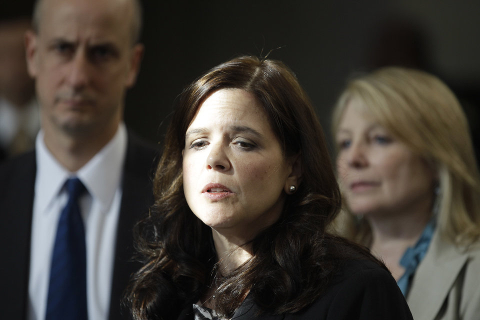 Photo -   Amy Thompson, defense attorney for William Balfour, speaks with the media Friday, May 11, 2012, in Chicago after Balfour was convicted of murdering the mother, brother and nephew of singer and actress Jennifer Hudson. Balfour faces a mandatory life prison sentence. (AP Photo/M. Spencer Green)