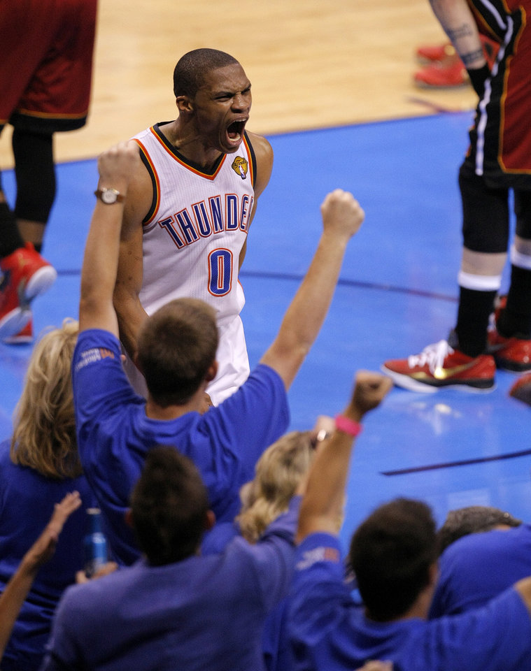 Oklahoma City's Russell Westbrook (0) reacts after a basket during Game 1 of the NBA Finals between the Oklahoma City Thunder and the Miami Heat at Chesapeake Energy Arena in Oklahoma City, Tuesday, June 12, 2012. Photo by Sarah Phipps, The Oklahoman