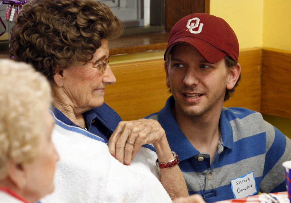 Anna Gowens talks with her grandson Jared Gowens at lunch during Homecoming Week at Full Circle Senior Adult Day Care in Norman, Oklahoma on Friday, May 30, 2008.  BY STEVE SISNEY, THE OKLAHOMAN