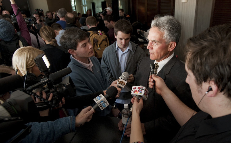 Photo - Missouri Athletic Director Mike Alden talks to reporters, Monday, Feb. 10, 2014 at Memorial Stadium in Columbia, Mo. He was commenting on Michael Sam, Missouri's All-American defensive end, who declared publicly on Sunday that he is gay and could become the first openly homosexual player in the NFL. (AP Photo/L.G. Patterson)