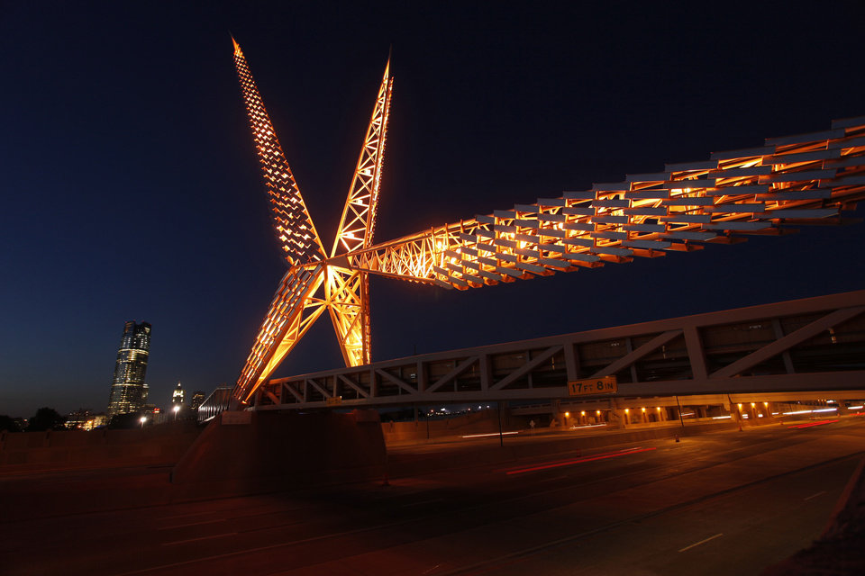 The SkyDance Bridge is lighted at night. OKLAHOMAN ARCHIVE PHOTO BY DOUG HOKE <strong>DOUG HOKE</strong>