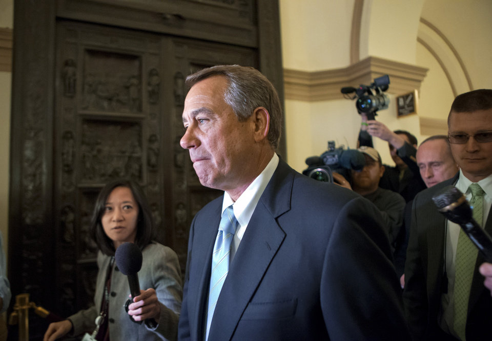 House Speaker John Boehner of Ohio arrives on Capitol Hill in Washington, Friday, March 1, 2013, after a meeting at the White House between President Barack Obama and Congressional leaders before billions of dollars in mandatory budget cuts were to start. The meeting — lasting less than an hour — yielded no immediate results. (AP Photo/J. Scott Applewhite)
