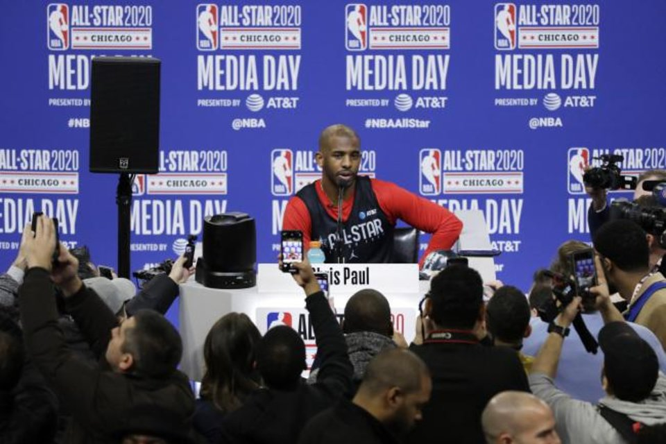 Photo -  Chris Paul, of the Oklahoma City Thunder, speaks Saturday during the NBA All-Star basketball game media day in Chicago. Paul's first nine All-Star seasons came in consecutive years, from 2008 through 2016. This is his 10th season as an All Star. [Nam Y. Huh/The Associated Press]