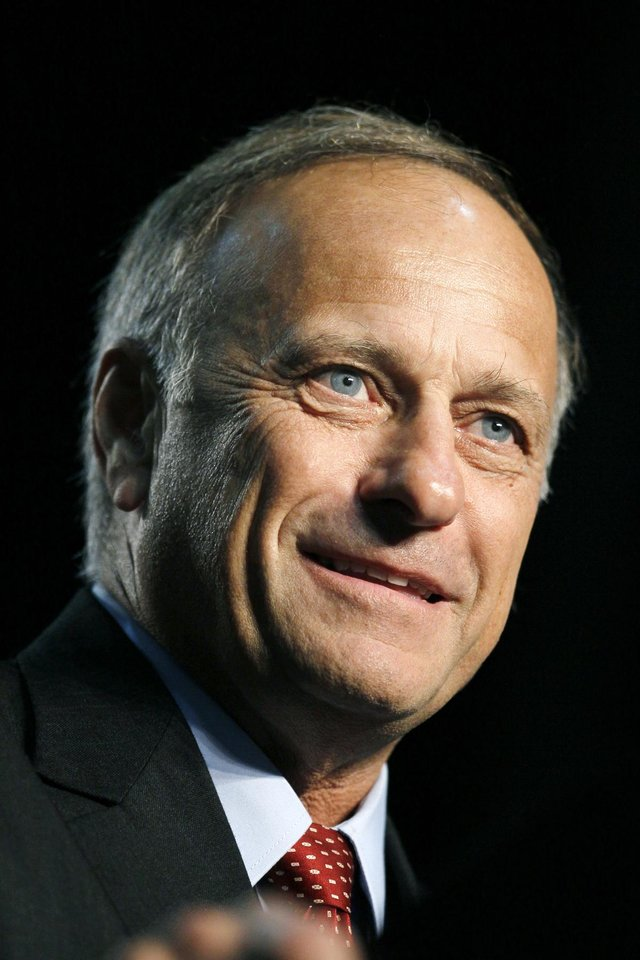 FILE - In this this June 26, 2010 file photo is U.S. Rep. Steve King, R-Iowa, who is facing former Iowa first lady Christie Vilsack in Iowa's 4th Congressional District. (AP Photo/Charlie Neibergall, file)