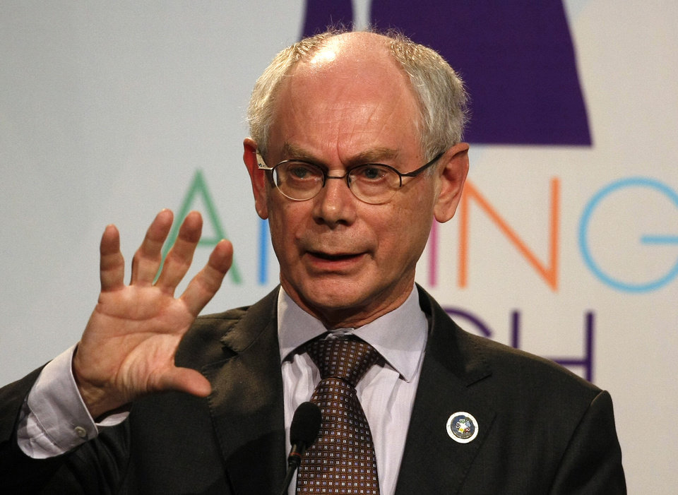 European Council President Herman Van Rompuy gestures as he speaks during a news conference at the CELAC-EU summit in Santiago, Chile, Sunday, Jan. 27, 2013. A 60-nation summit wrapped up in Chile on Sunday with leaders from the European Union, Latin America and the Caribbean renewing calls for giving investors
