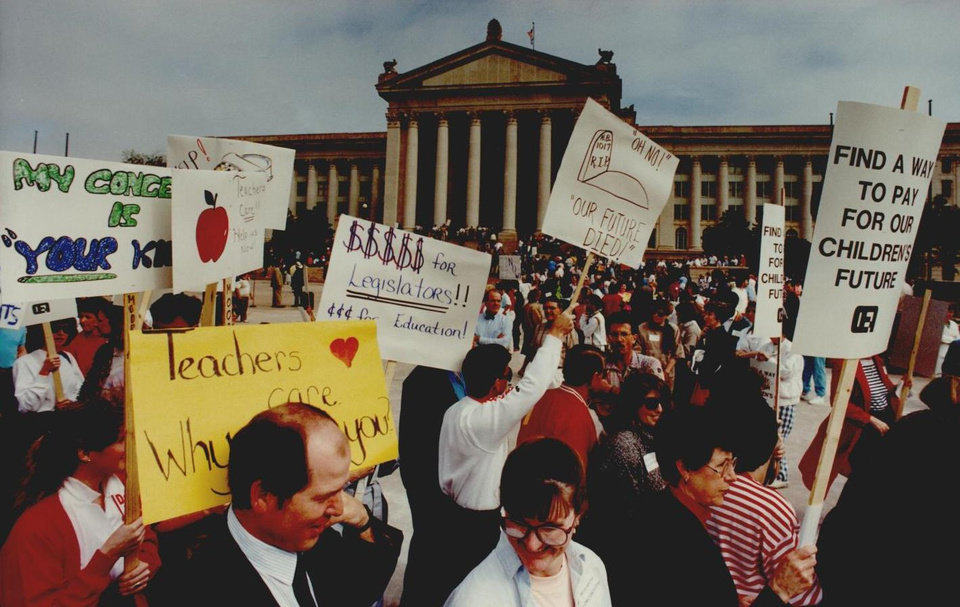 Photo - Thousands of Oklahoma teachers skipped school April 16, 1990, to march at the state Capitol for education reform. [Photo by Jim Beckel, The Oklahoman Archives]