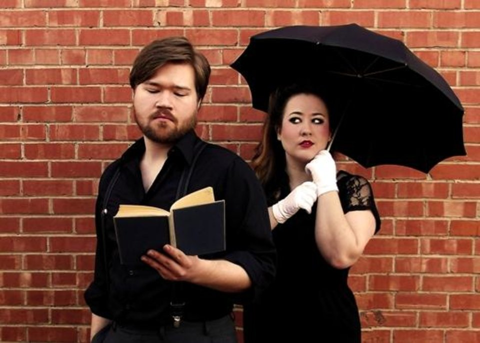 "Mitchell Reid plays Berowne and Holly McNatt plays Rosaline in Reduxion Theatre Company's production of ""Love's Labour's Lost."""