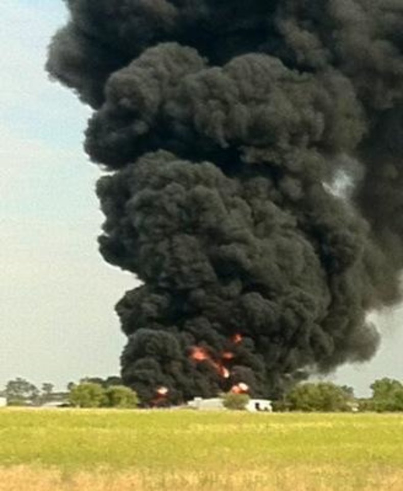 Photo - User-submitted photo: Elk City explosion/fire from I-40 today.